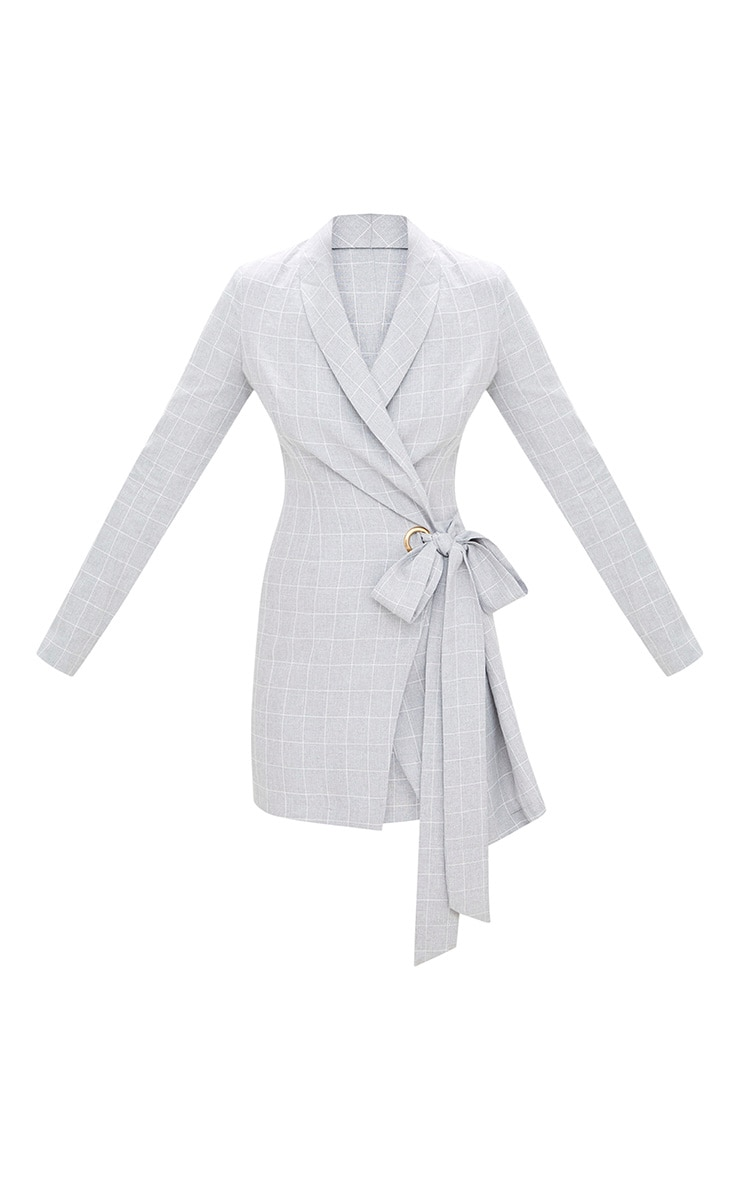 Robe blazer grise à carreaux 3