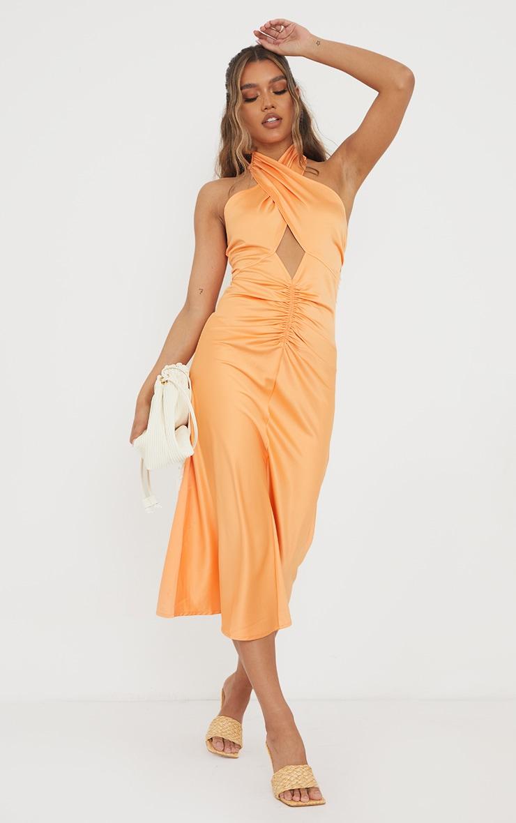 Tangerine Satin Halterneck Ruched Cut Out Midi Dress 1