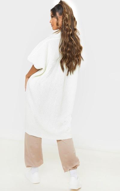 Ivory Chunky Knit 3/4 Sleeve Wrap Cardigan