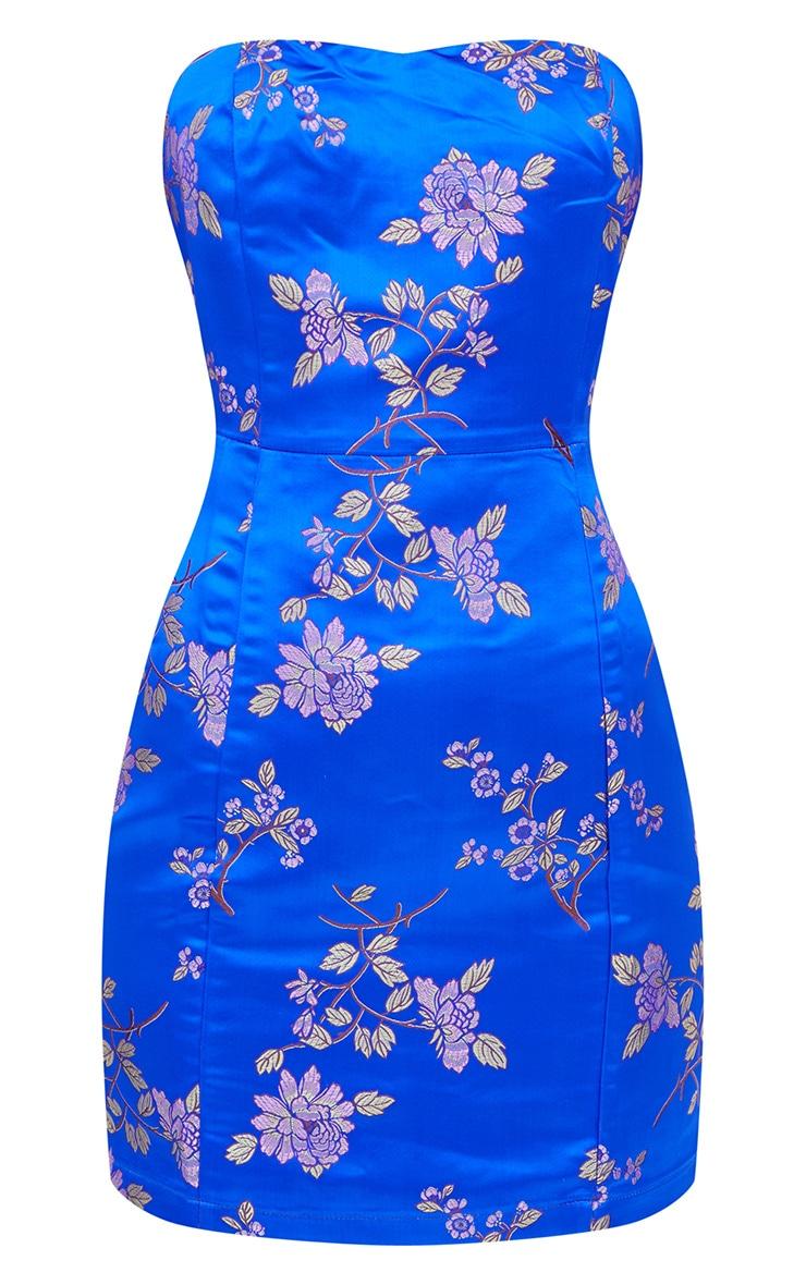 Cobalt Oriental Satin Bandeau Bodycon Dress  3