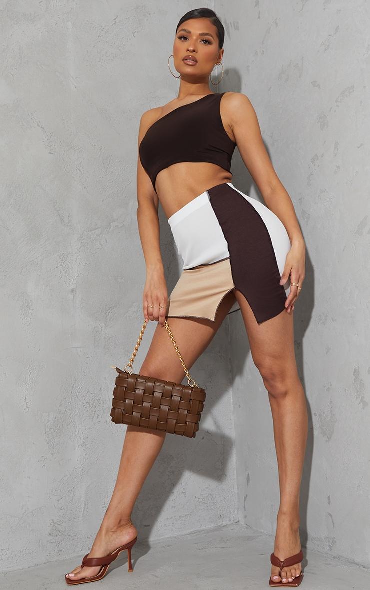 Chocolate Contrast Panel Split Hem Mini Skirt 4