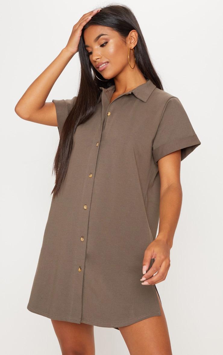 Khaki Tortoise Shell Button Shirt Dress by Prettylittlething