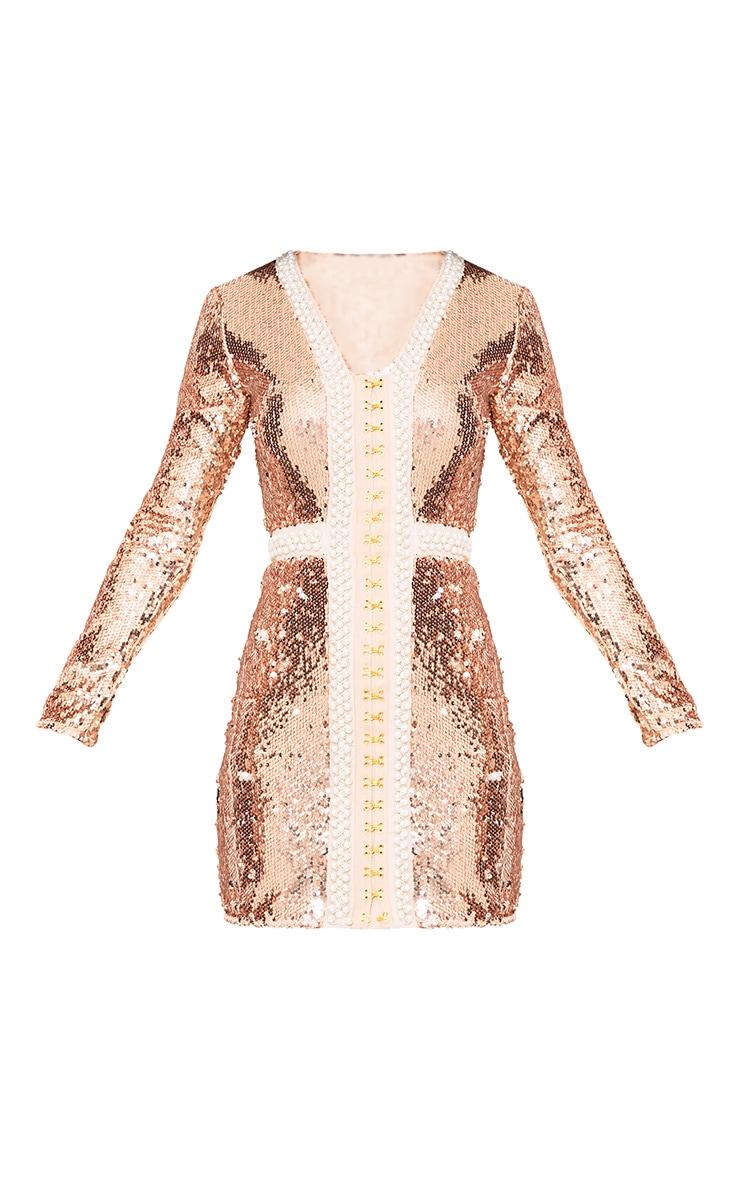 Valencia Rose Gold Premium Embellished Sequin Bodycon Dress 3