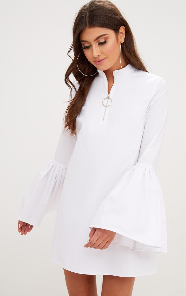 White Cotton Flared Sleeve Shift Dress 1