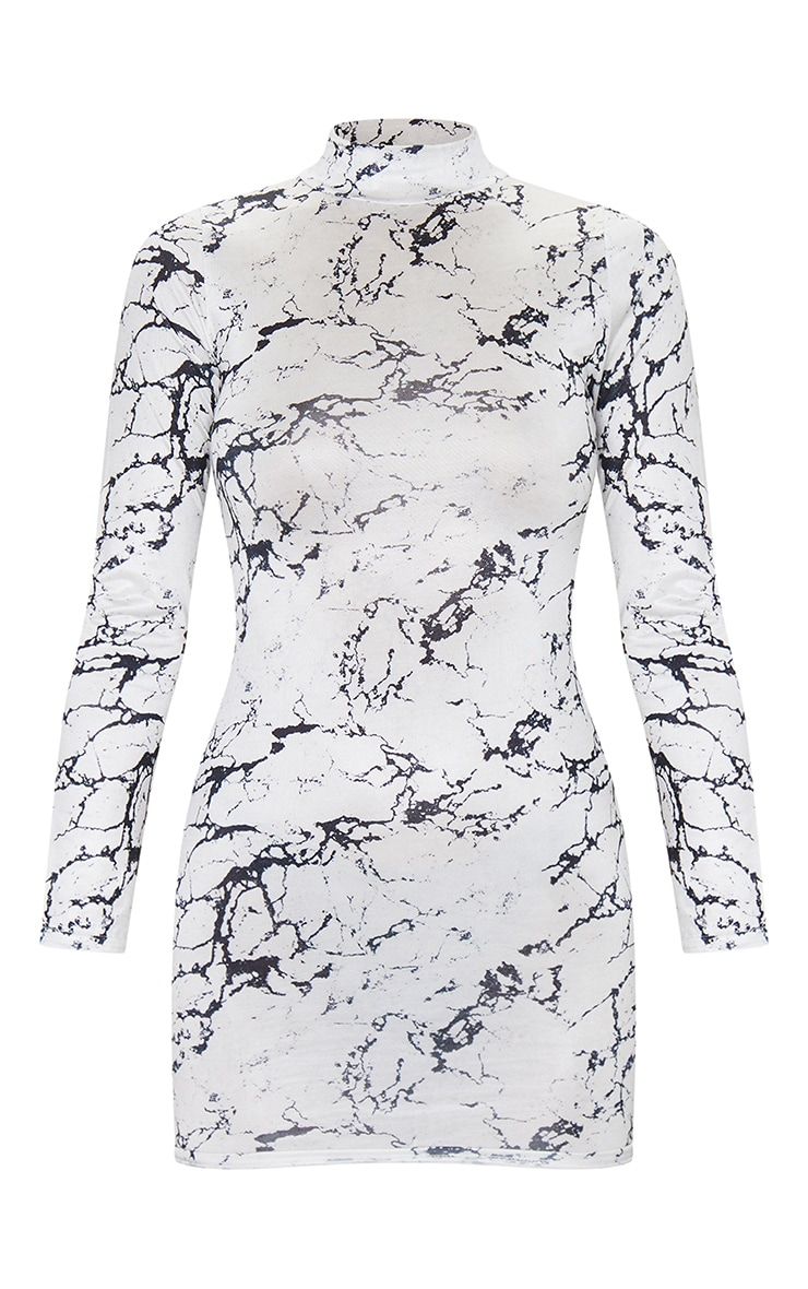 White Marble Print Slinky High Neck Long Sleeve Bodycon Dress 5