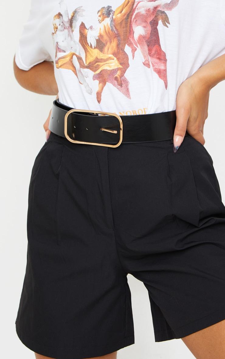 Black PU Round Buckle Waist Belt 1