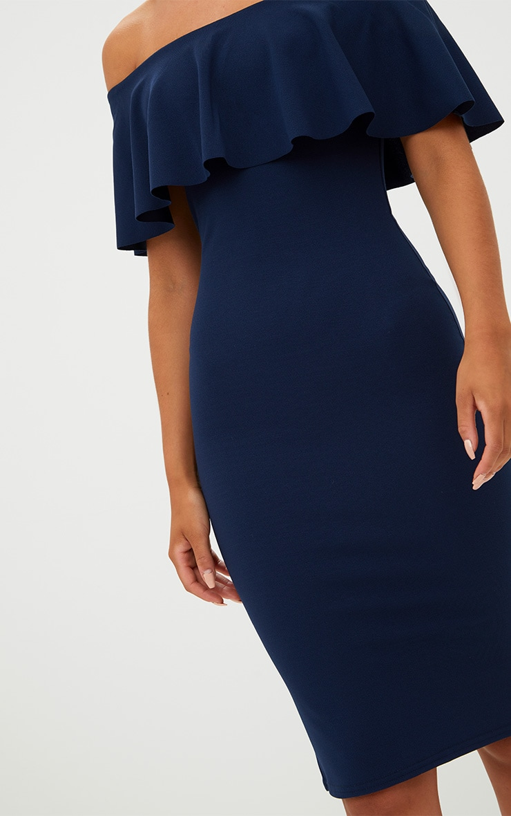 Navy Bardot Frill Midi Dress  5