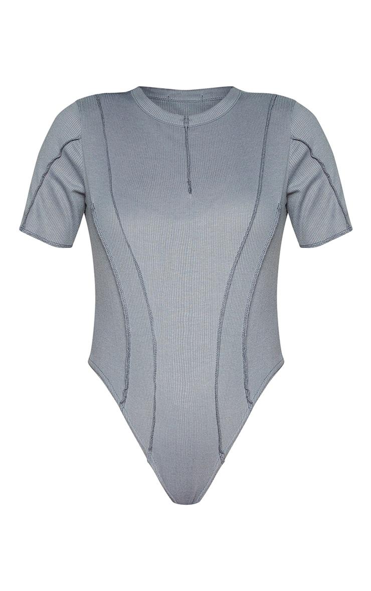 Grey Rib Short Sleeve Seam Detail Bodysuit 5