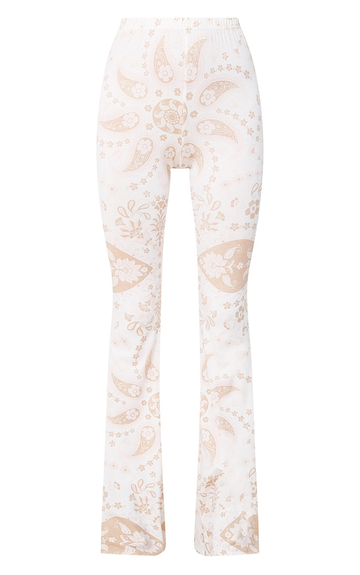 White Festival Print Jersey Flare Trousers 3