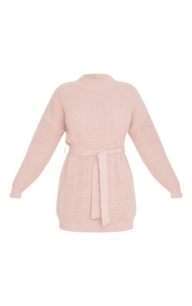 Pale Pink Soft Touch Belted Knitted Sweater Dress 3