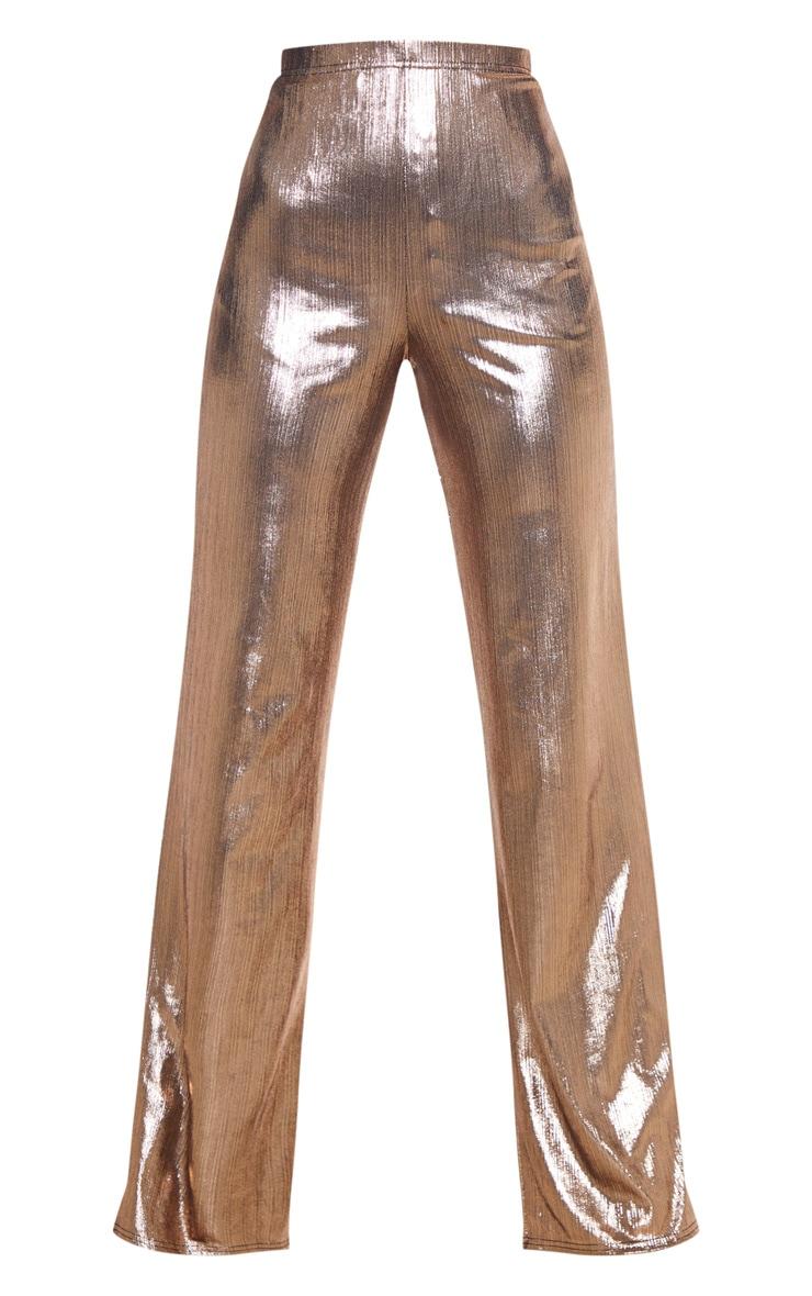 Bronze Metallic Straight Leg Pants 3