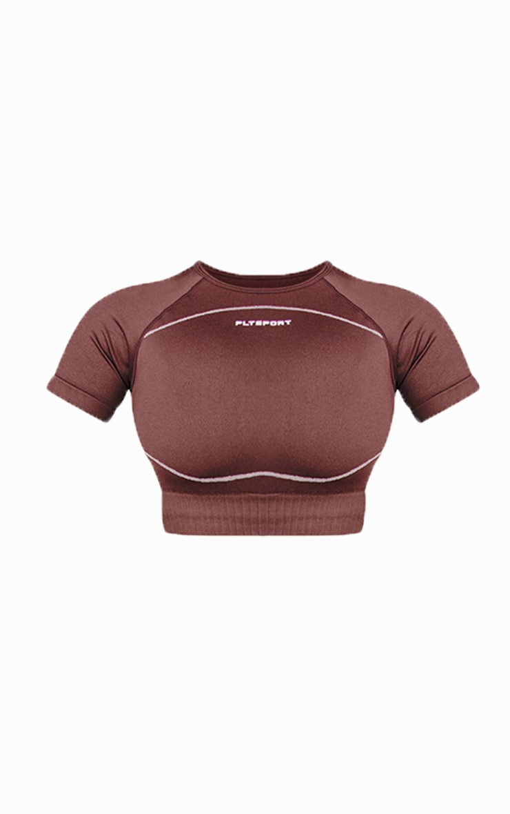 PRETTYLITTLETHING Chocolate Sport Seamless Cropped Tee 5