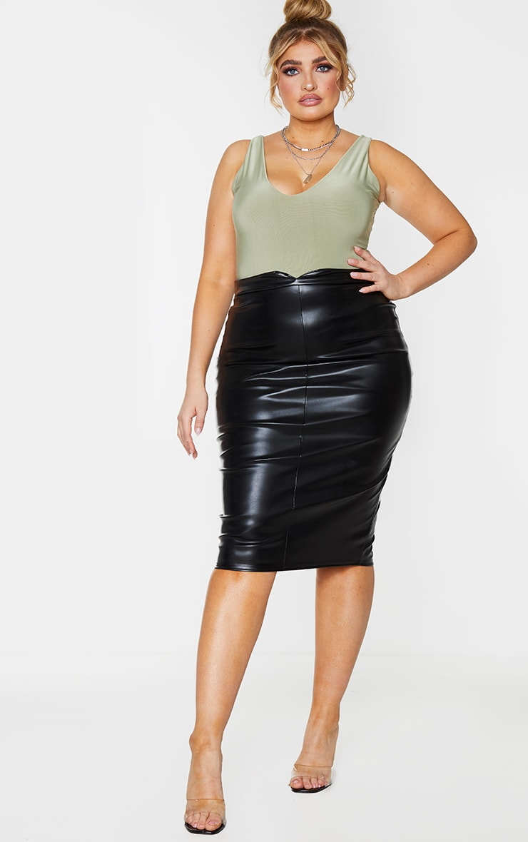 Plus Eva Black Faux Leather Panel Midi Skirt 1