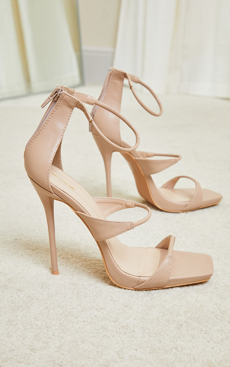 Beige Square Toe Triple Strap High Heel Sandals 4