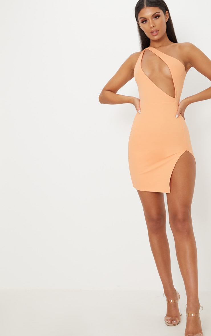 Tangerine One Shoulder Extreme Split Detail Bodycon Dress 4
