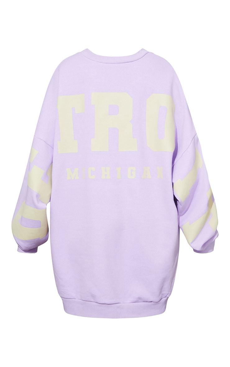 Lilac Detroit Michigan Slogan Sweatshirt Dress 5