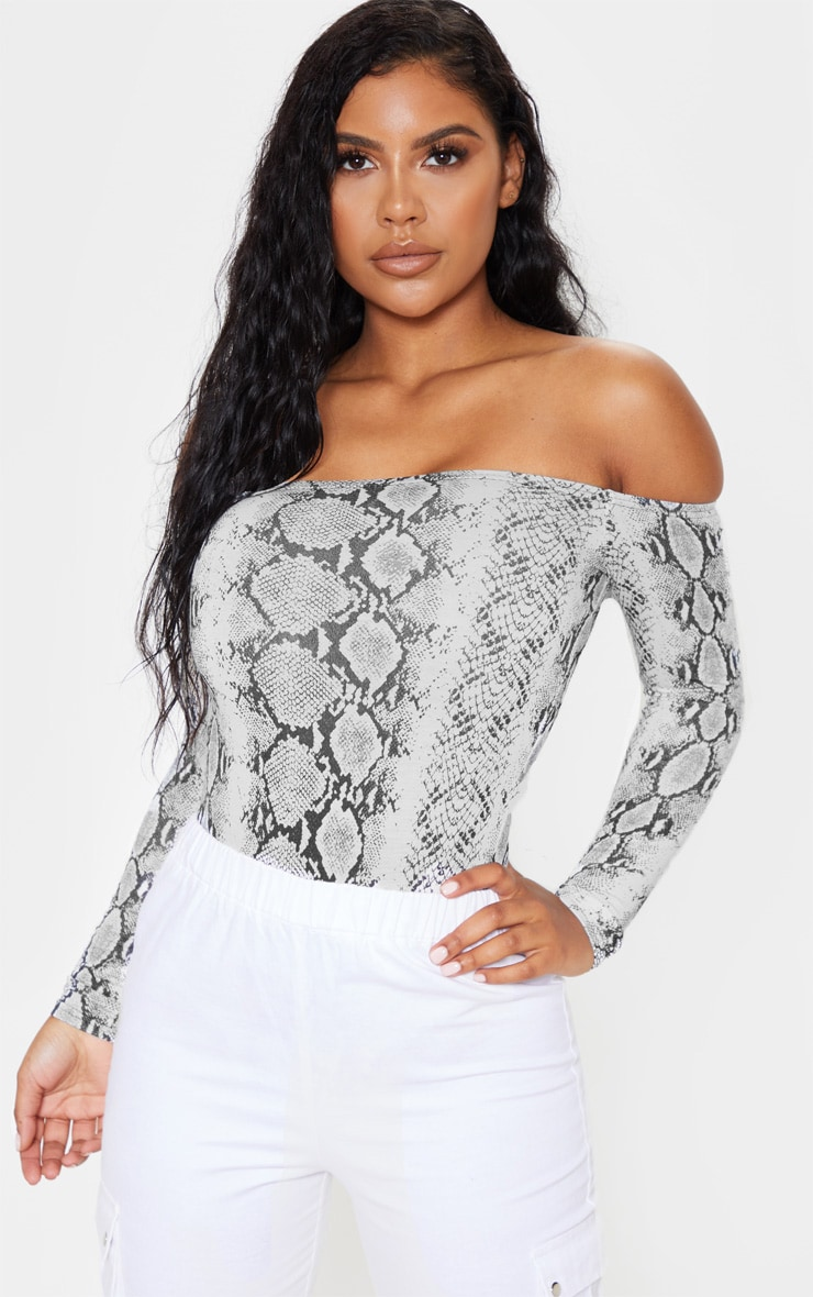 Grey Snake Print Bardot Thong Bodysuit 1