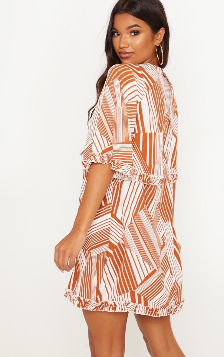 Burnt Orange Geometric Ruffle Smock Dress 2