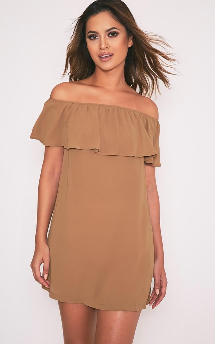 Poppy Camel Bardot Chiffon Mini Dress 1