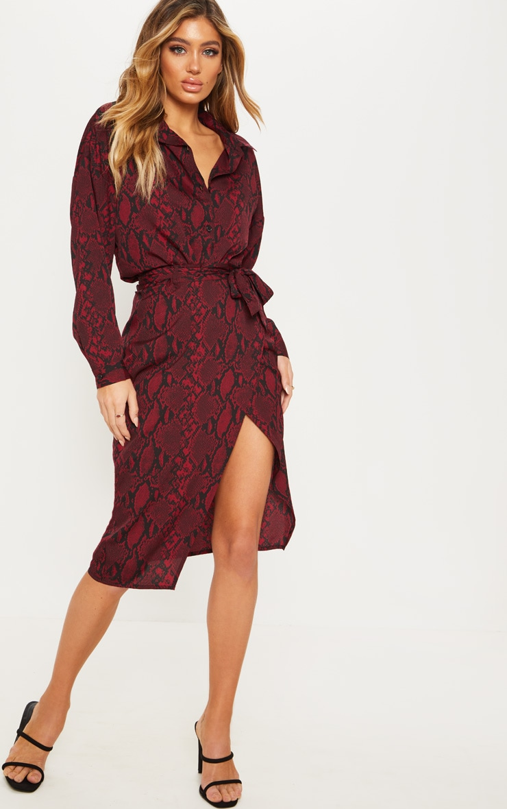 Burgundy Snake Print Belted Wrap Midi Skirt  1