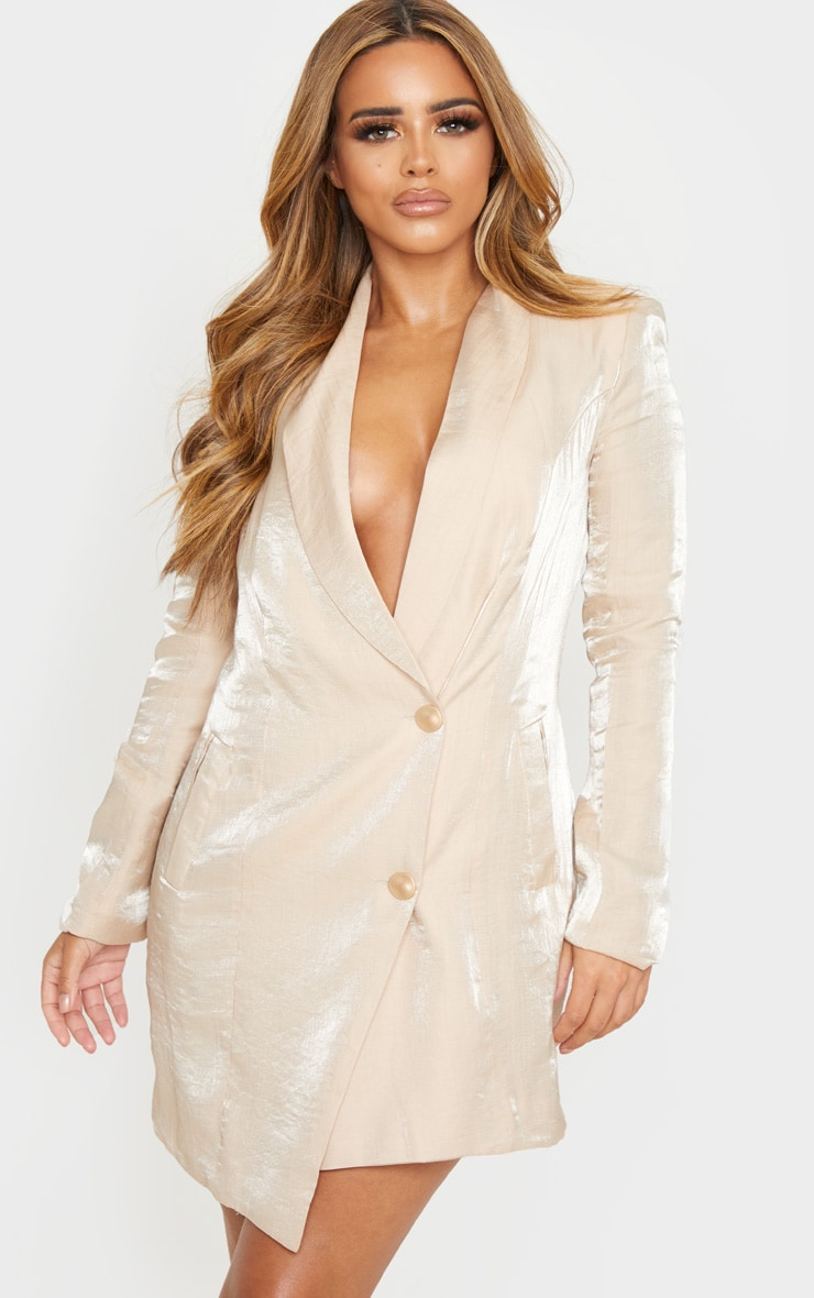 Petite Champagne Shimmer Gold Button Blazer Dress 1