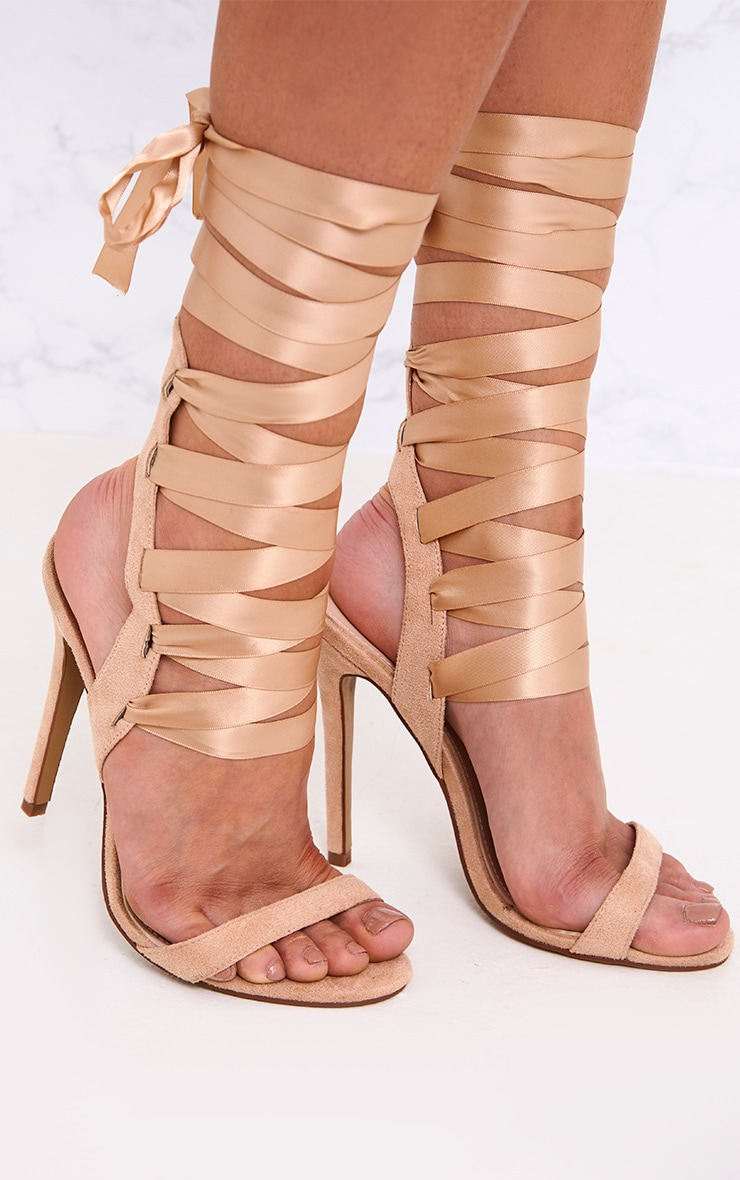 Lorele Nude Ribbon Lace Up Heeled Sandals 2
