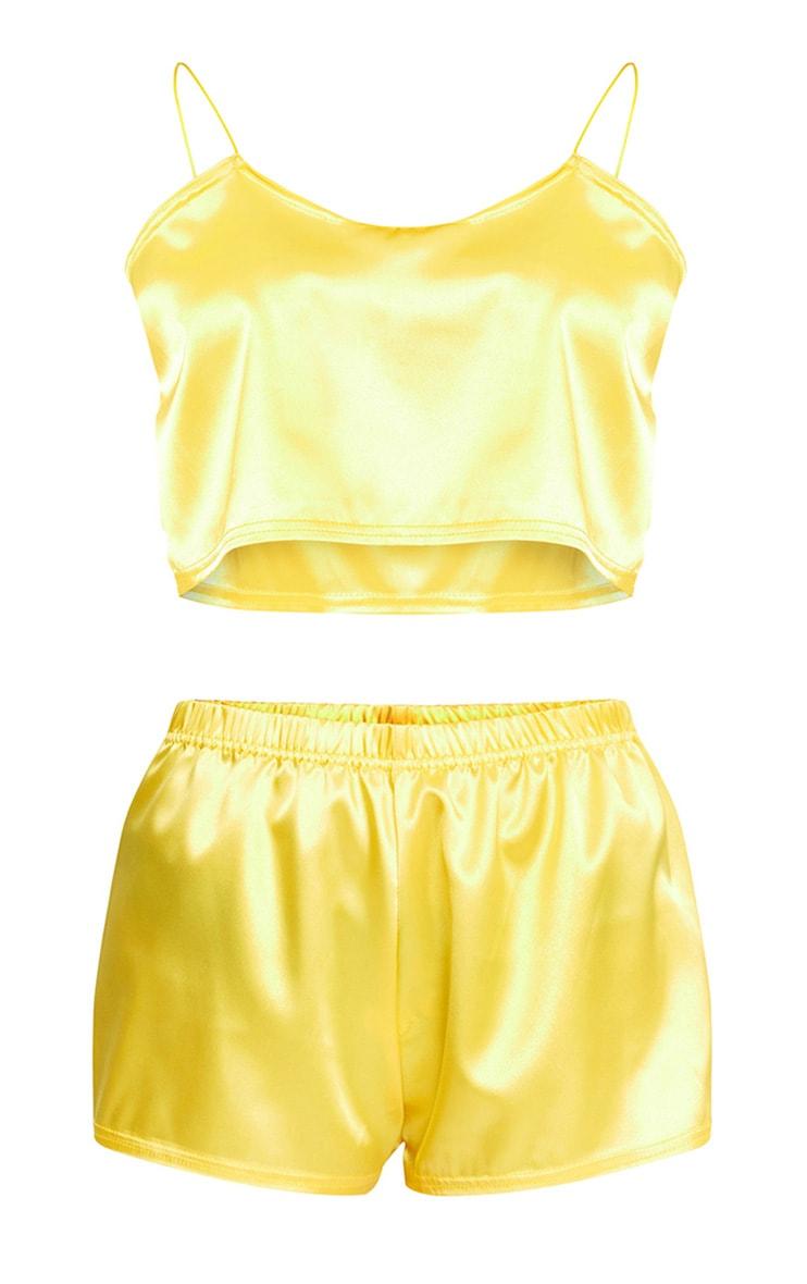Yellow Satin Pyjama Shorts Set 3