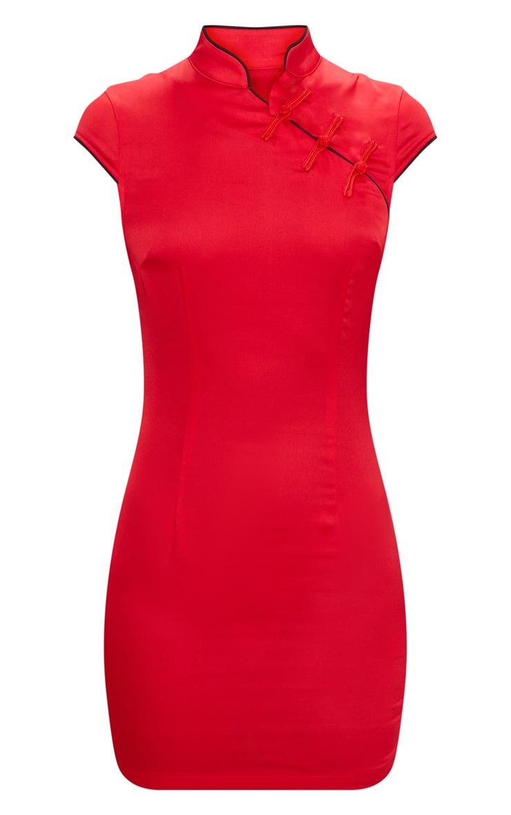 Red Satin Oriental Bodycon Dress 3