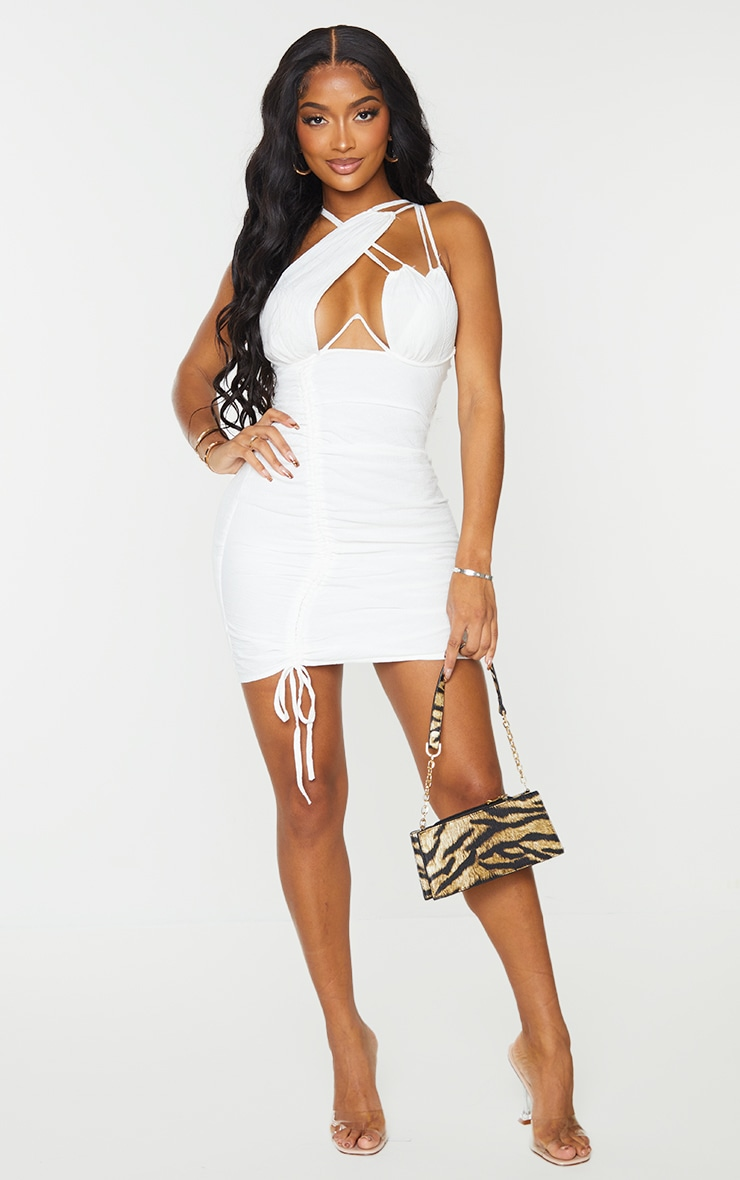 Shape Cream Woven Cup Detail Ruched Side Bodycon Dress 3