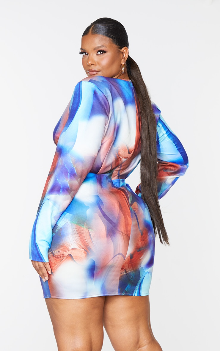 Plus Blue Marble Print Woven Plunge Cut Out Long Sleeve Dress 2