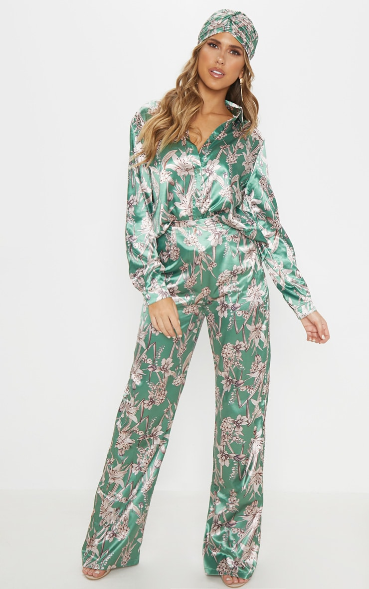Green Satin Floral Oversized Shirt 4