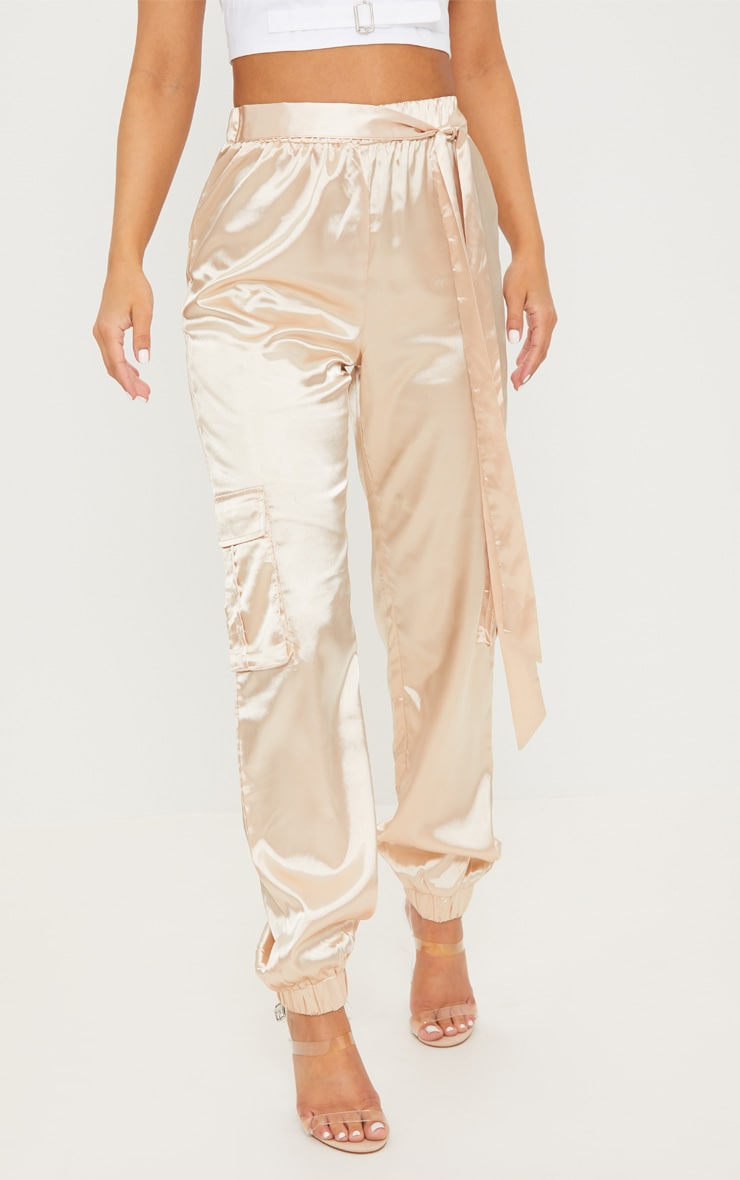 Petite Champagne Satin Cargo Trousers 2