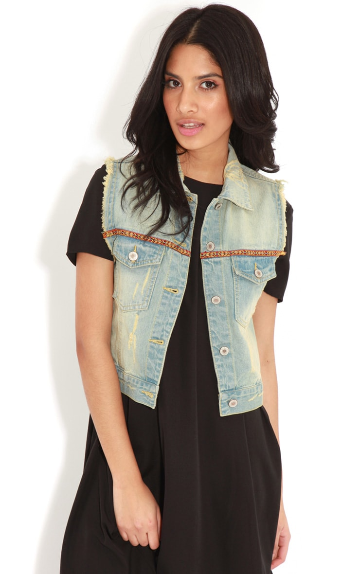 Nicola Denim Gilet With Embroidery 1