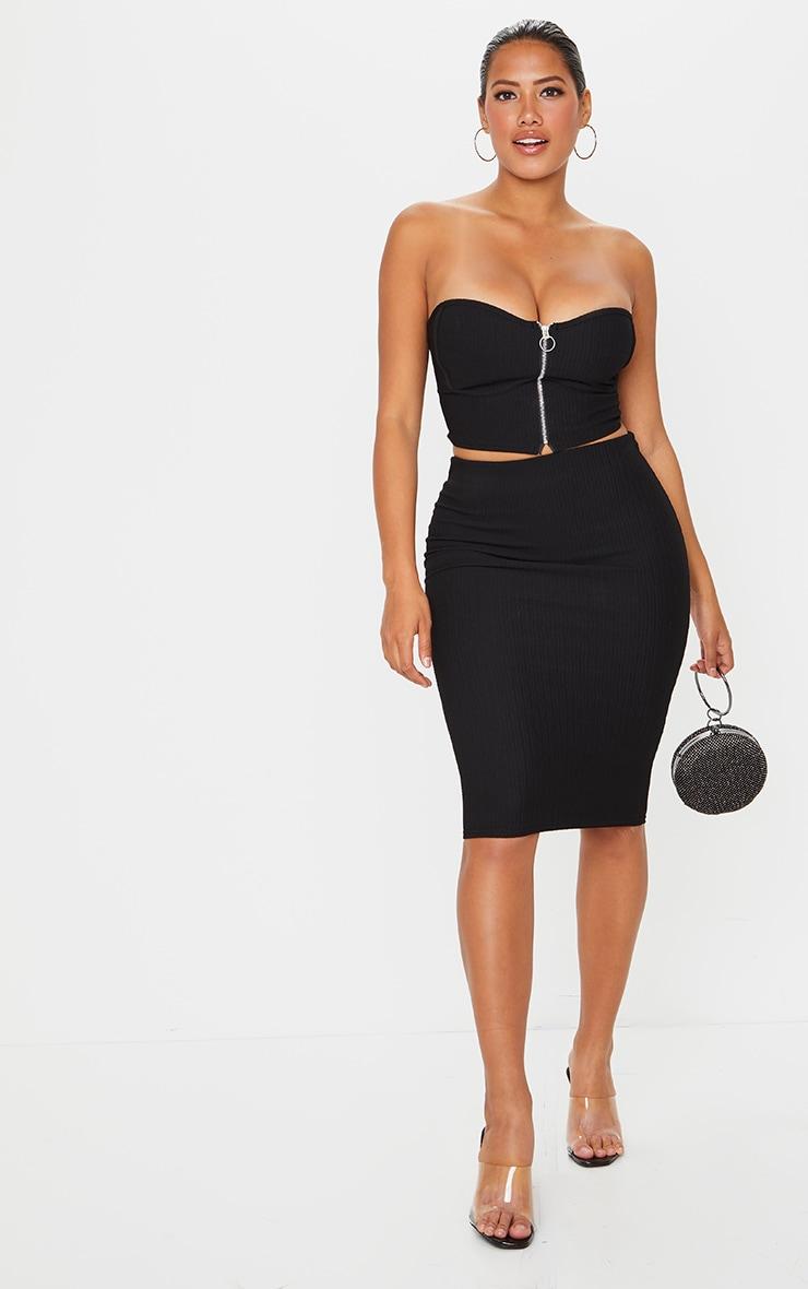 Shape Black Crinkle Rib High Waist Midi Skirt 1