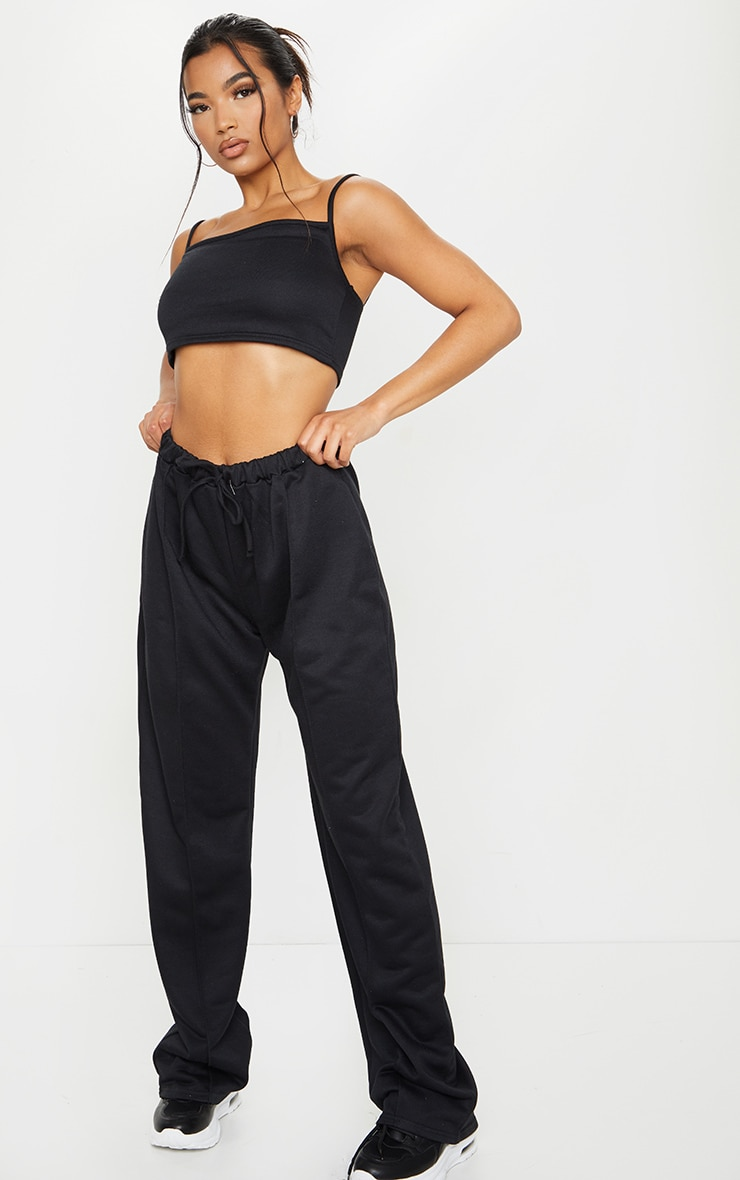 Black High Waist Seam Detail Wide Leg Joggers 1