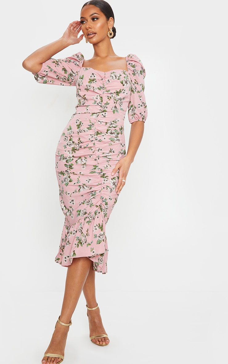 Dusty Pink Floral Ruched Front Frill Hem Midi Dress 1