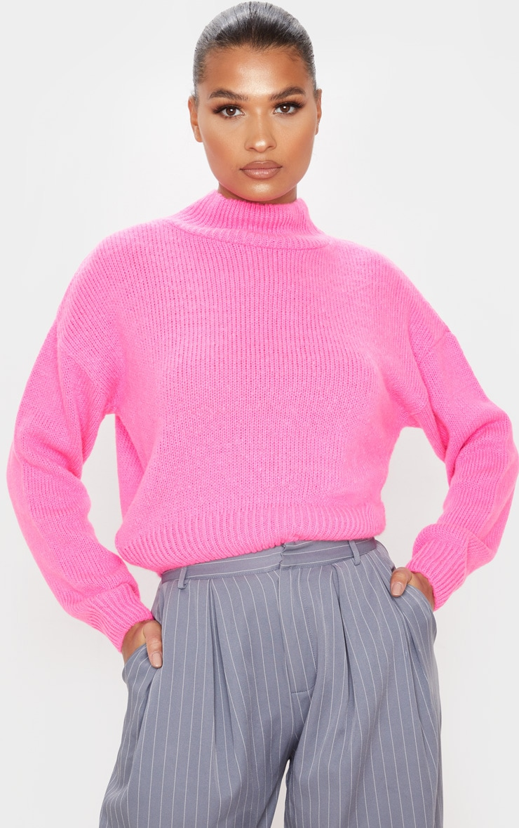 Hot Pink High Neck Fluffy Knit Cropped Sweater 1