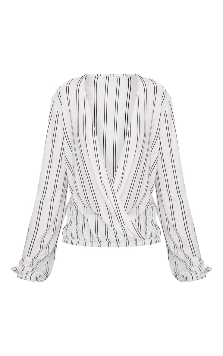 White Stripe Drape Front Long Sleeve Top 3