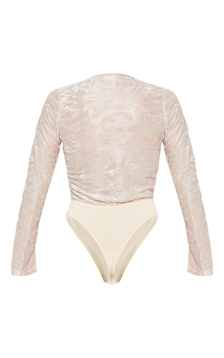 Champagne Devore Plunge Long Sleeve Bodysuit 4