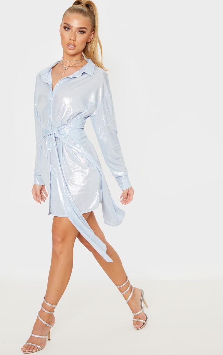 Silver Metallic Button Up Tie Waist Shirt Dress 4