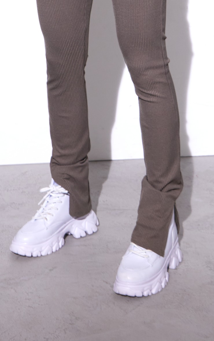 RENEW Khaki Rib Split Hem Leggings 4