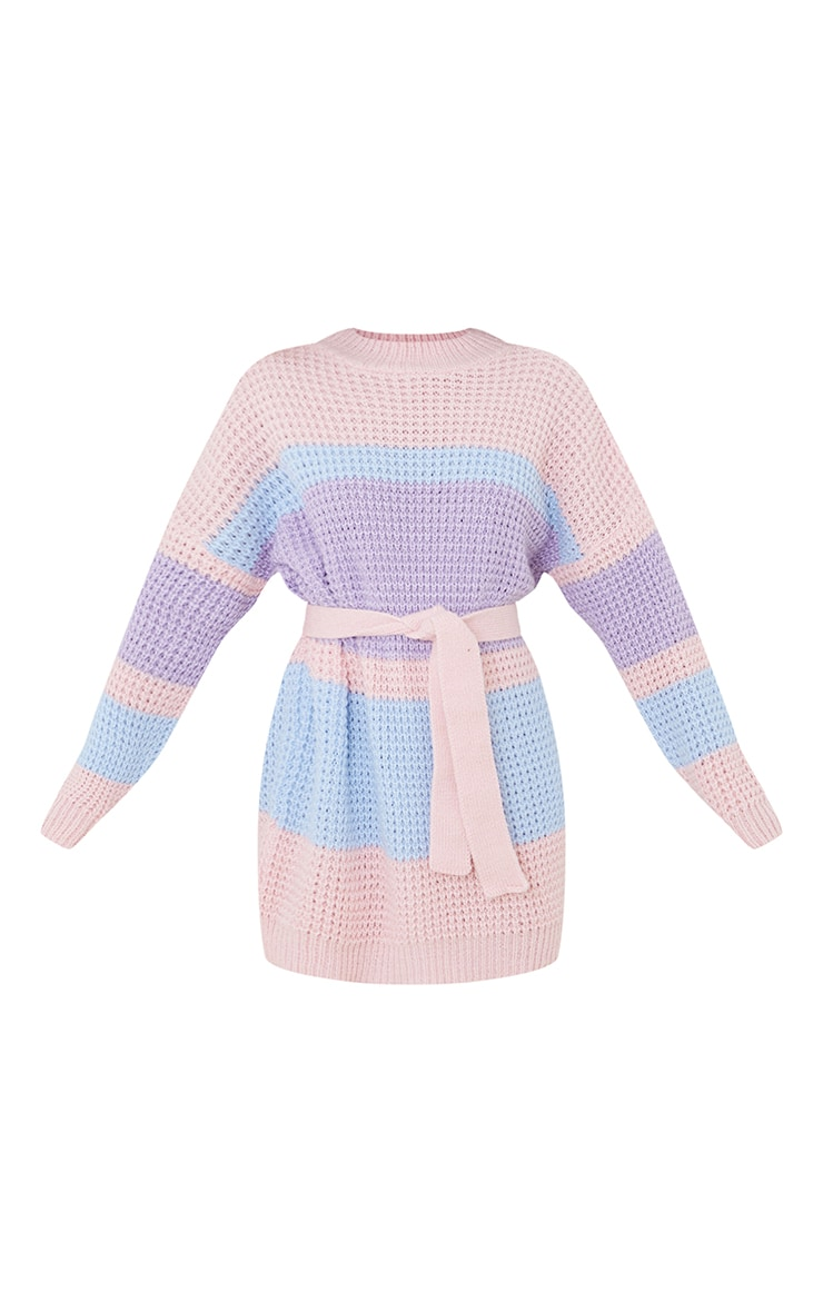 Lilac Colour Block Waffle Knitted Jumper Dress 5