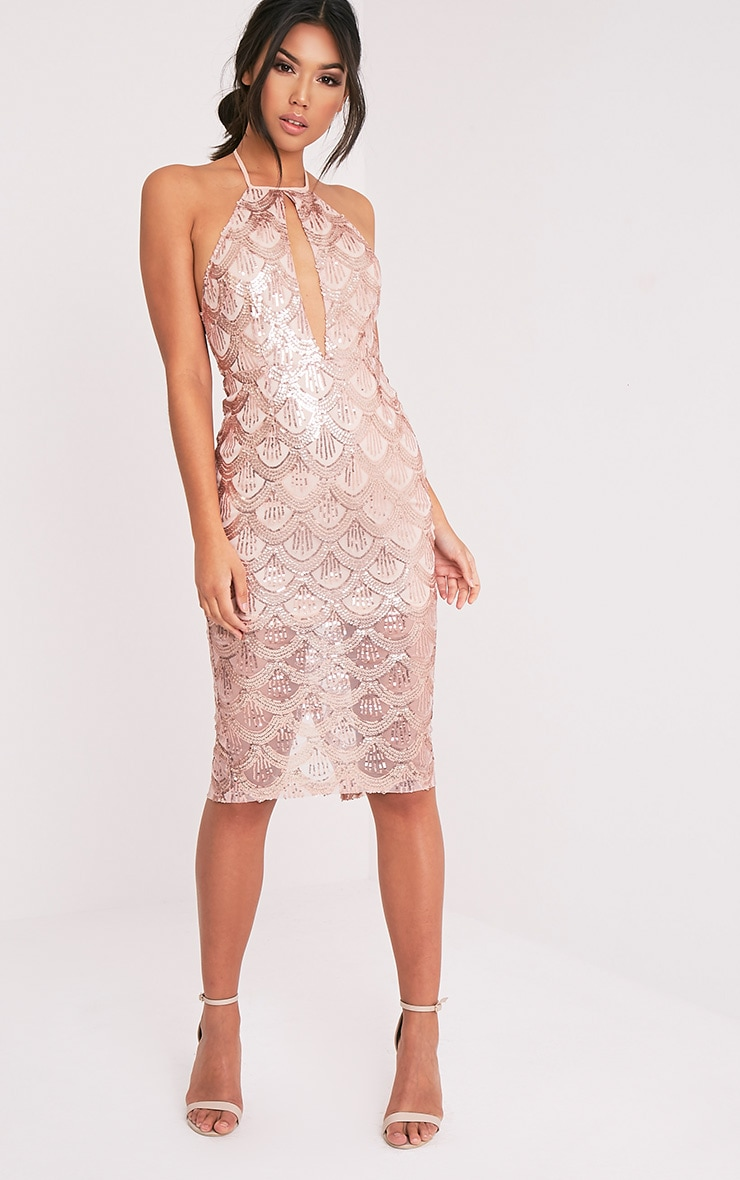 Amarie Rose Gold High Neck Keyhole Sequin Midi Dress 1