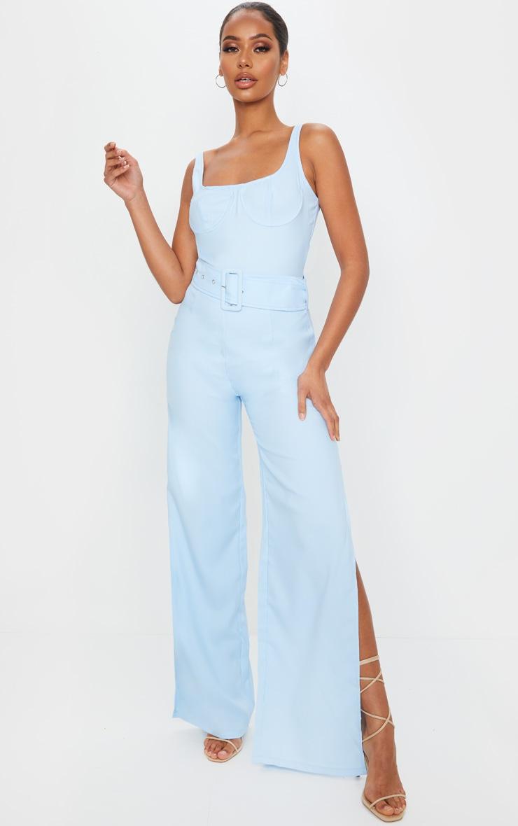 Dusty Blue High Waisted Belt Detail Wide Leg Pants 1