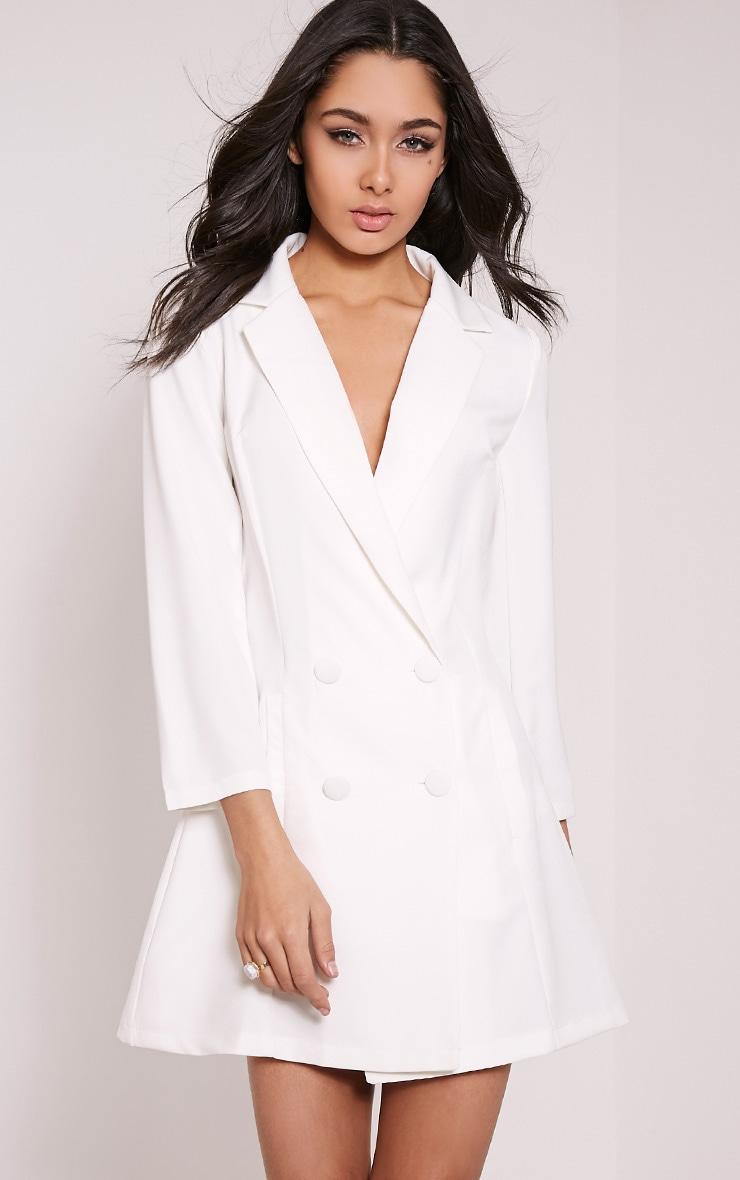 Tobyn Cream Double Breasted Blazer Dress 1