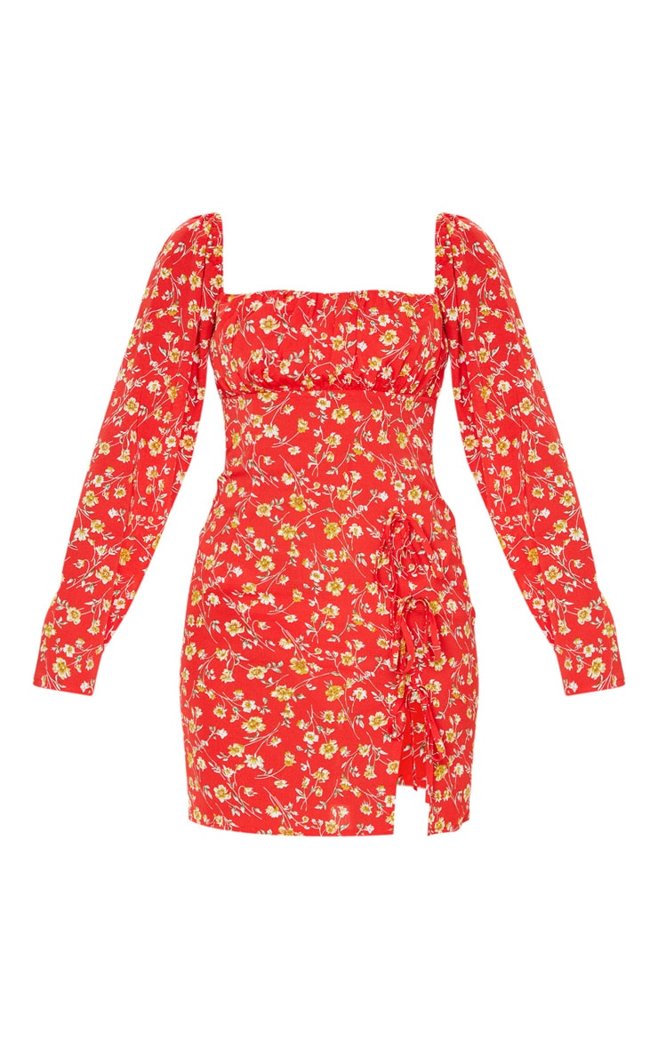Red Ditsy Floral Bow Detail Side Split Bodycon Dress 3