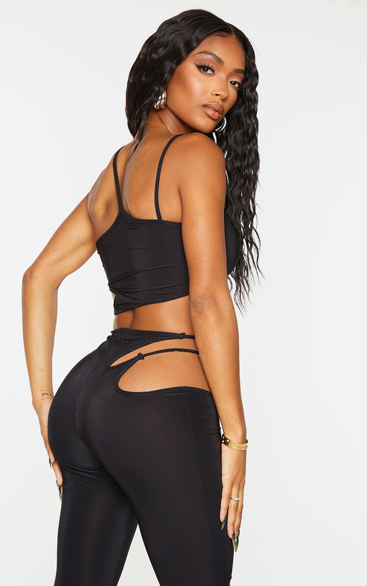 Shape Black Slinky Ring Detail Strappy Crop Top 2