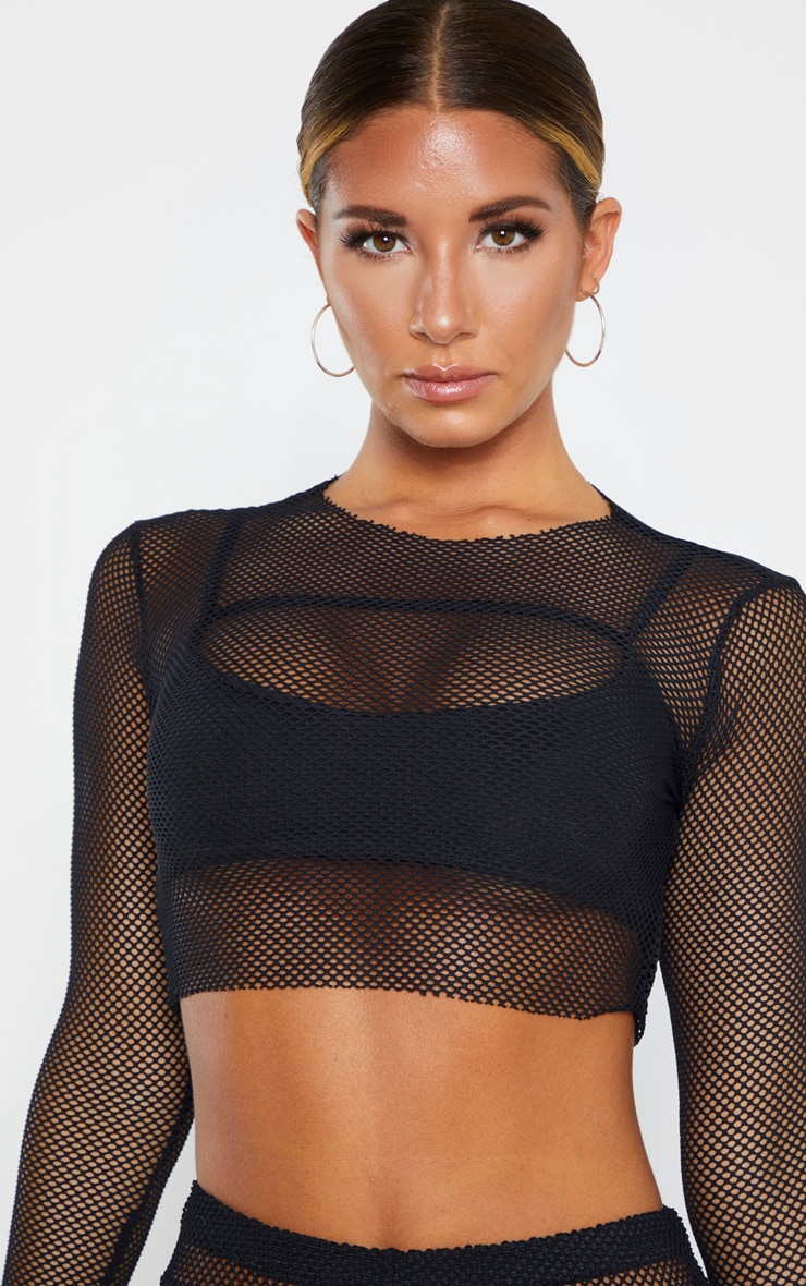 Black Fishnet Long Sleeved Crop Top 5