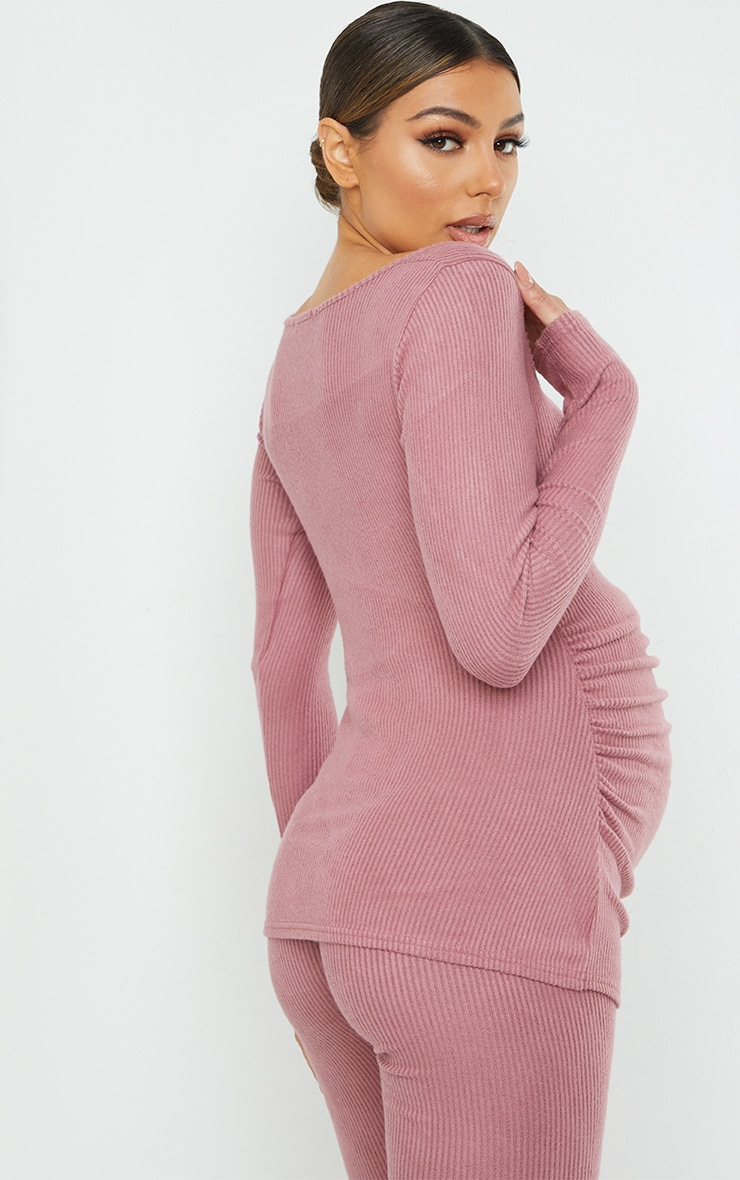 Maternity Dusty Rose Ruched Bust Brushed Rib Top 2