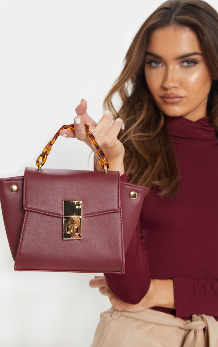 Burgundy Square Mini Bag Tortoiseshell Chain Handle